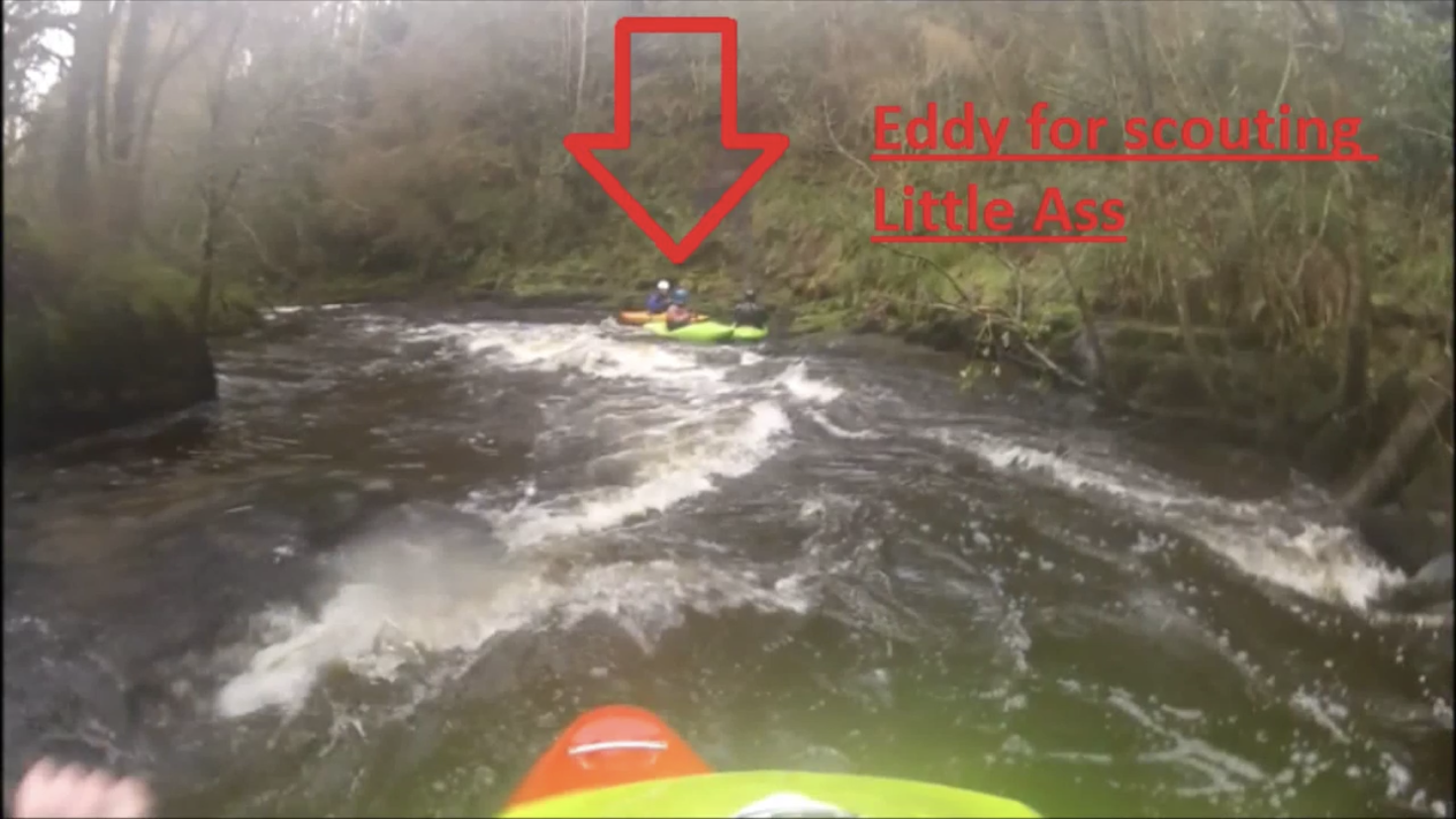 Clare Glens Double Drop / Little Ass River Guide showing lines to take. Created by University of Limerick Kayak Club.