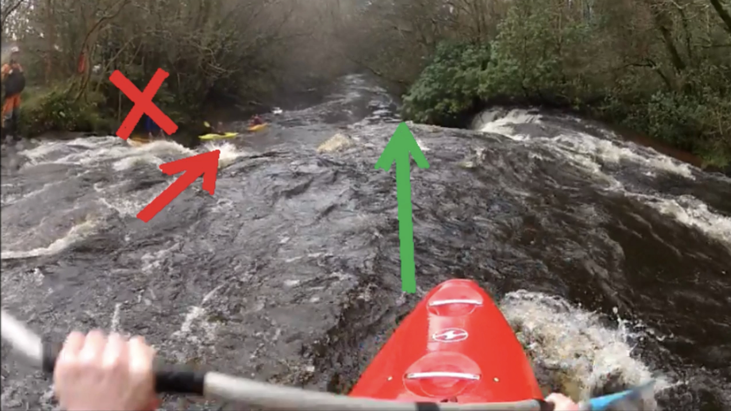 Clare Glens Top Drop River Guide showing lines to take. Created by University of Limerick Kayak Club.