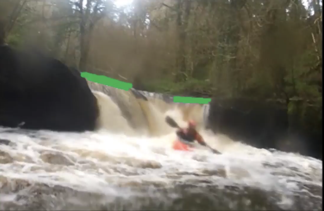 Clare Glens V Drop River Guide showing lines to take. Created by University of Limerick Kayak Club.